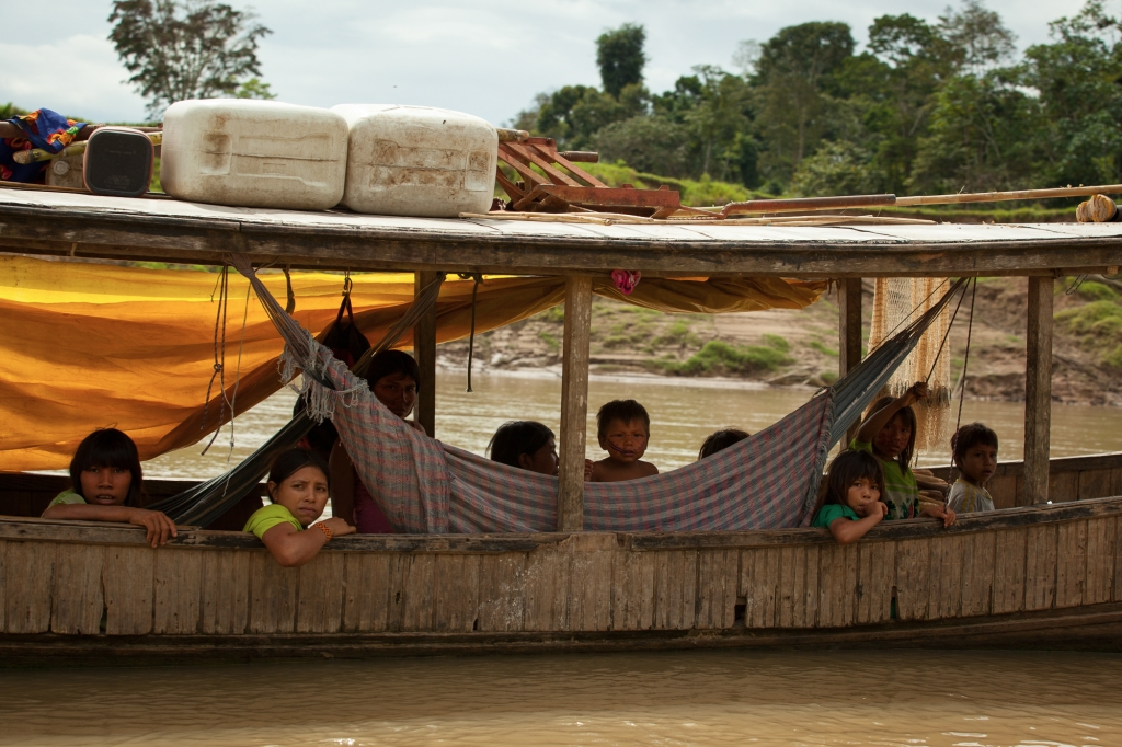 indigenous indians on house boat